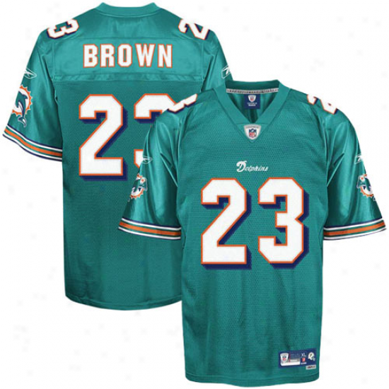 Miami Dolphins Jersey : Reebok Nfl Equipment Miami Dolphins #23 Ronnie Brown Aqua Premier Tackel Twill Football Jersey