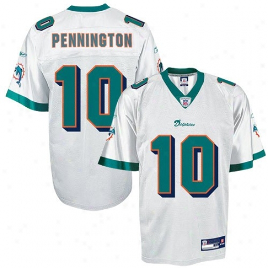 Miami Dolphins Jersey : Reebok Nfl Equipment Miami Dolphins #10 Chad Pennington White Replica Football Jersey