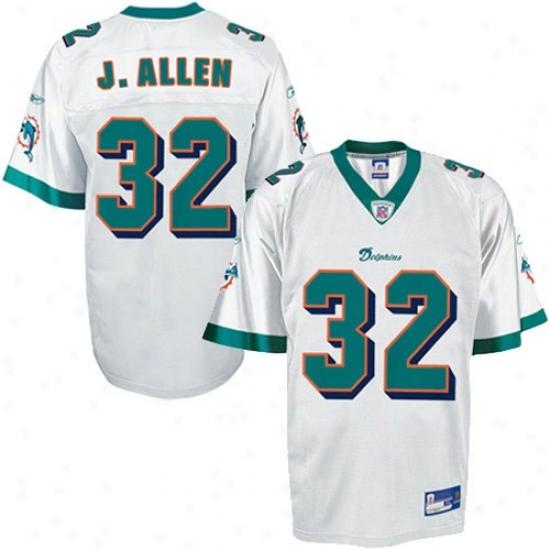 Miami Dolphins Jersey : Reebok Nfl Equipment Miami Dolphins #32 Jason Allen White Replica Football Jersey