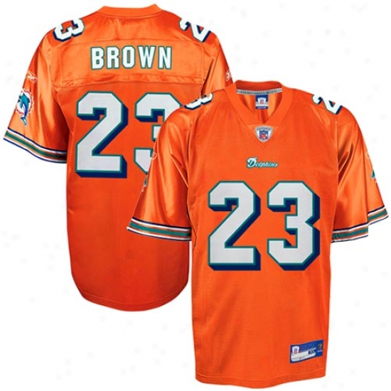 Miami Dolphins Jerseys : Reebok Nfl Equipment Miami Dolphins #23 Ronnie Brown Orange Alternate Replica Footabll Jerseys