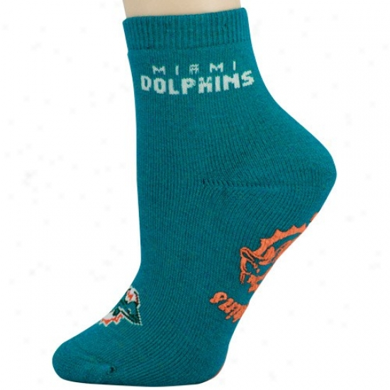 Miami Dolphins Ladies Aqua Slipper Socks