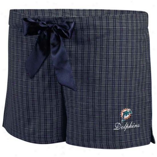 Miami Dolphin sLadies Navy Blue Plaid Monday Night Football Boxer Shorts