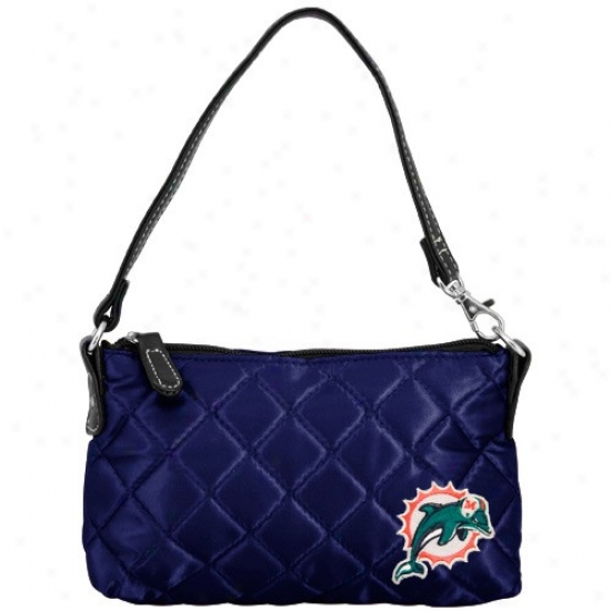 Miami Dolphins Ladies Navy Blue Wristlet Quilted Purse
