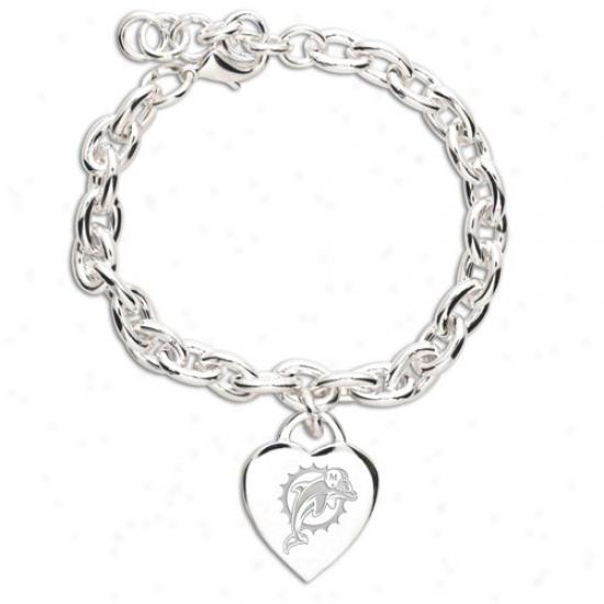 Miami Dolphins Ladies Silver Heart Charm Bracelet