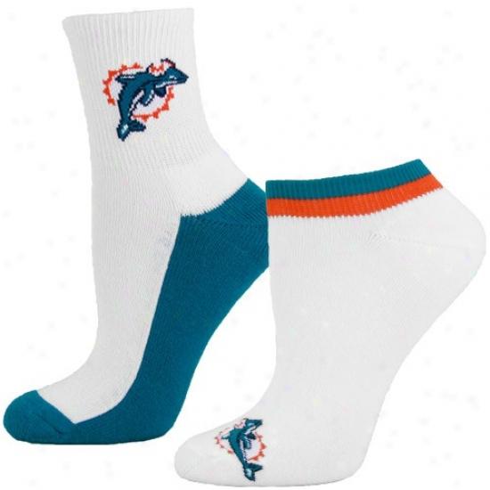 Miami D0lphins Ladies White-aqua Two-pack Socks