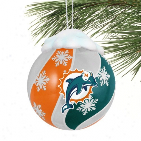 Miami Dolphins Light-up Glass Ornament
