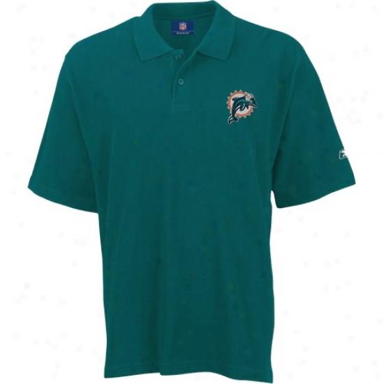 Miami Dolphins Polo : Reebok Miami Dolphins Aqua Team Logo Pique Polo
