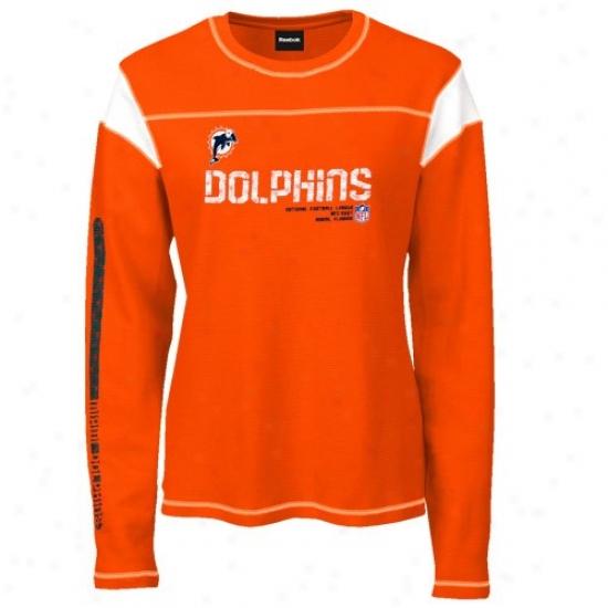 Miami Dolphins Shirts : Reebok Miami Dolphins Ladies Orange Sideline Tacon Too Waffle Long Sleeve Shirts