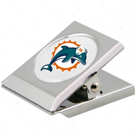 Miami Dolphins Silver Heavy-duty Magnetic Chip Clip