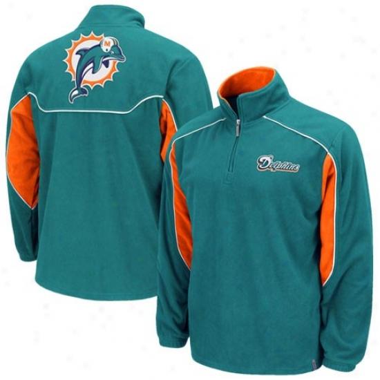 Miami Dolphins Sweat Shirt : Reebok Miami Dolphins Aqua Final Score 1/4 Zip Pullover Sweat Shirt Jacket