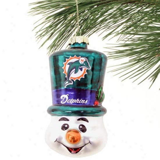 Miami Dolphins Top Hat Snowman Blown Glass Ornament