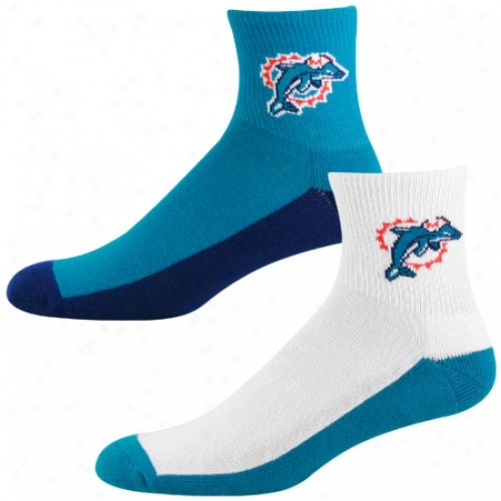 Miai Dolphins Tri-color Two-pack Quarter Socks
