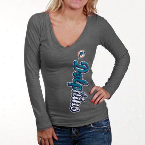Miami Dolphins Tshirt : Miami Dolphins Ladies Gray Up And On the ground Slub V-neck Long Sleeve Tshirf