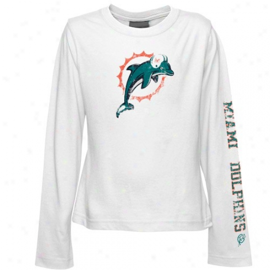 Miami Dolphins Tshirt : Reebok Miami Dolphins Youth Girls White Giant Logo Long-winded Sleeve Tshirt