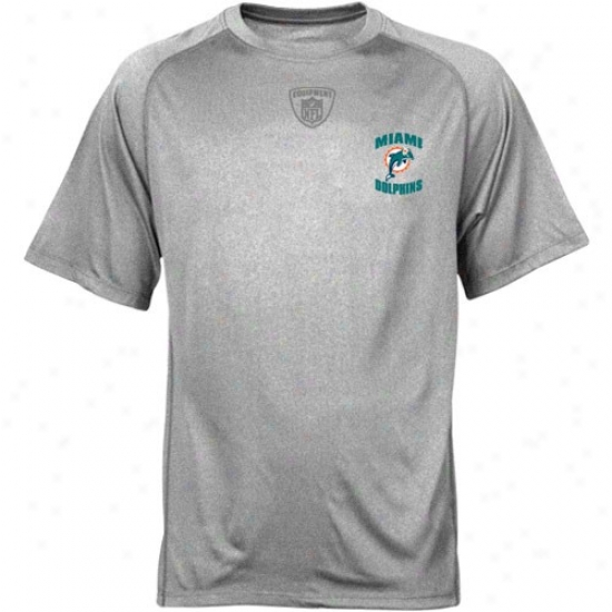Miami Dolphins Tshirt : Reebok Nfl Equipment Miami Dolphins Ash Equipspeed Performance Tshir