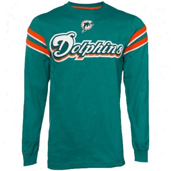 Miami Dolphins Tshirts : Miami Dolphins Aqua End Of The Line Ii Long Sleeve Tshirts