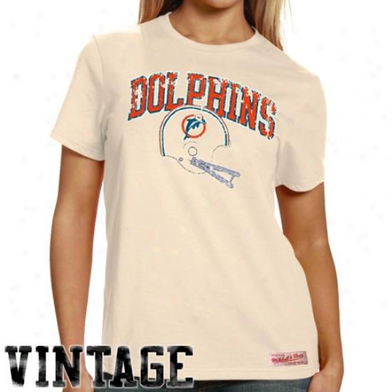 Miami Dolphins Tshirts : Mitchell & Ness Miami Dolphins Ladies Original Vintag ePremium Tshirts