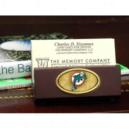 Miami Dolphins Wooden Business Card Holder