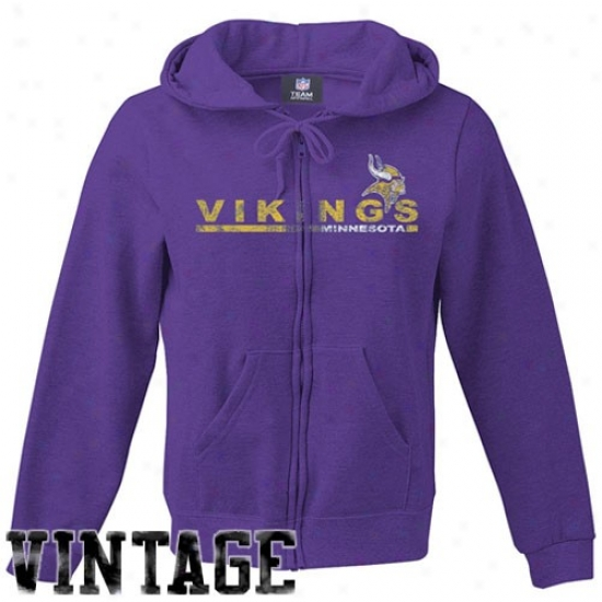Minnssota Viking Fleece : Minnesota Viking Ladies Purle Football Vintage Full Zip Fleece