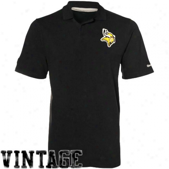 Minnesota Viking Polo : Reebok Minnesota Viking Black Distressed Logo Vintage Pique Poo
