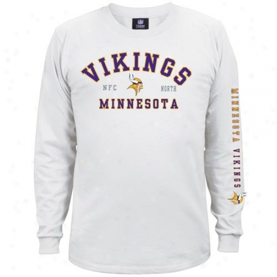Minnesota Voking Shirt : Minnesota Viking White Dua lThreat Long Sleeve Shirt