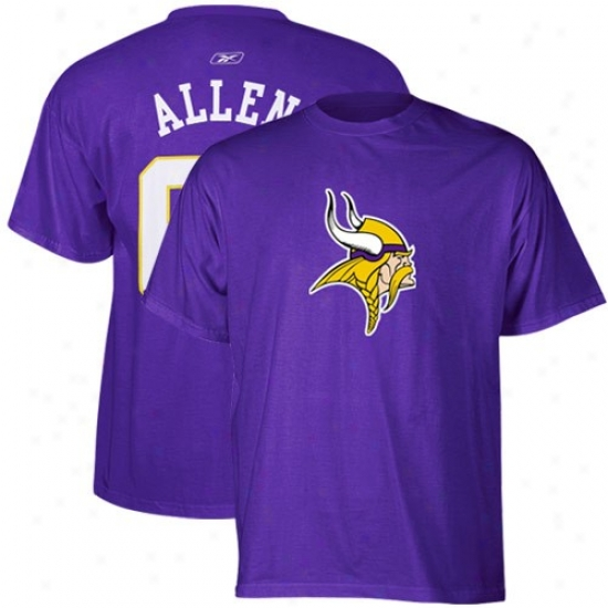 Minnesota Viking Shirt : Reebok Minnesota Viking #69 Jared Allen Pufple Scrimmage Gear Shirt