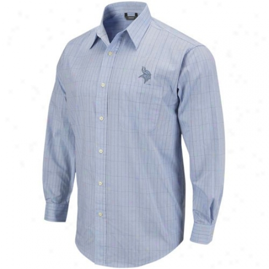 Minnesota Viking Shirts : Reebok Minnesota Viking Light Blu eLong Sleeve Woven Button Down Shirts