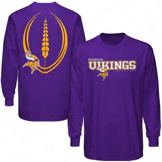 Minnesota Viking T Shi5t : Reebok Minnesota Viking Purple Ballistic Long Sleeve T Shirt