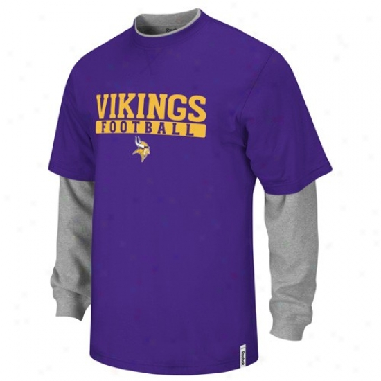 Minnesota Viking Tees : Reebok Minnesota Viking Purple-grzy Splitter Double Layer Tees