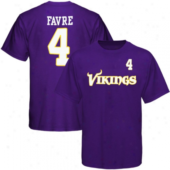Minnesota Viking Tees : Reebok Minnesota Viking #4 Brett Favre Youth Purple Player Tees
