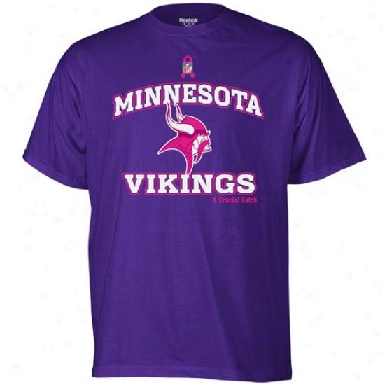 Minnesota Viking Tshirt : Reebok Minnesota Viking Purple Breast Cancer Awareness Tshirt