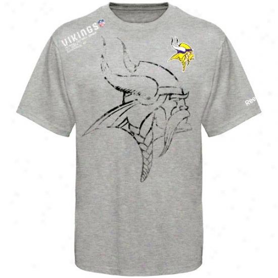 Minnesota Viking Tshirt : Reebok Minnesota Viking Youth Ash Sideline Stealth Tshirt