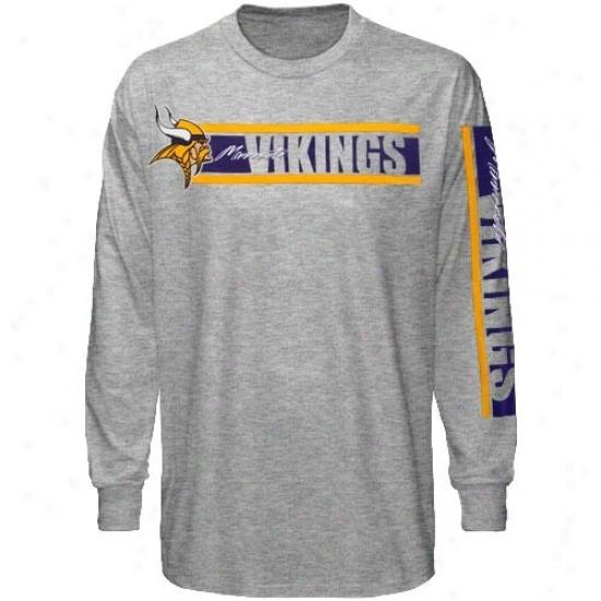 Minnesota Viking Tshirts : Reebok Minnesota Viking Ash The Stripes Long Sleeve Tshirts