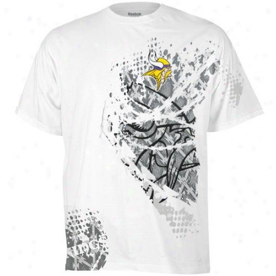 Minnesota Viking Tshirts : Reebok Minnesota Viking White Razor Tshirts
