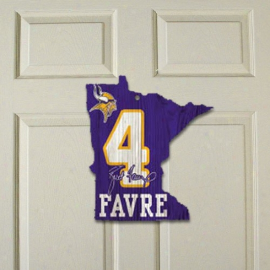 """minnesotta Vikings #4 Brett Favre 11"""" X 12 5/8"""" Purple Wooden State Sign"""