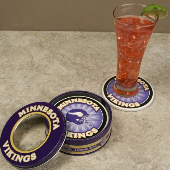 Minnesota Vikings 4-pack Coasters With Tin