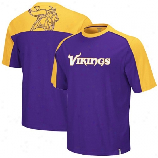 Minnesota Vikings Apparel: Reebok Minnesota Vikings Purple-gold Draft Pick T -shirt