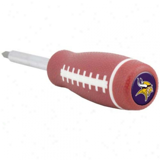 Minnesota Vikings Brown Pro-grip Football Screwdriver And Drill Bits