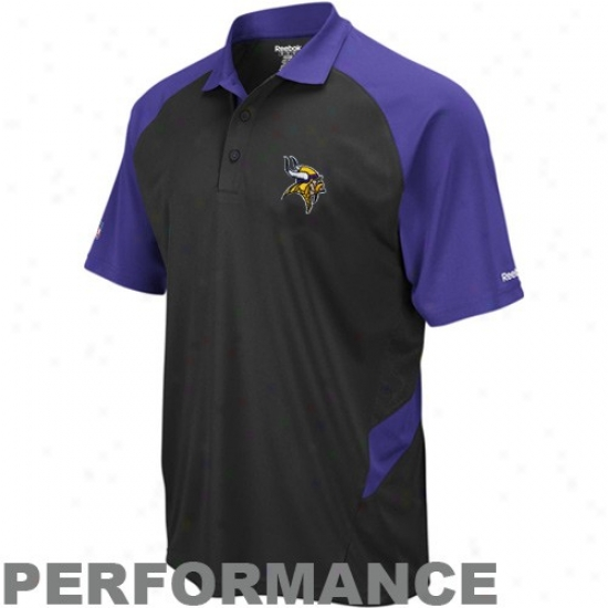 Minnesota Vikings Clothing: Reebok Minnesota Vikings Black-purple Sideline Statement Performance Pplo