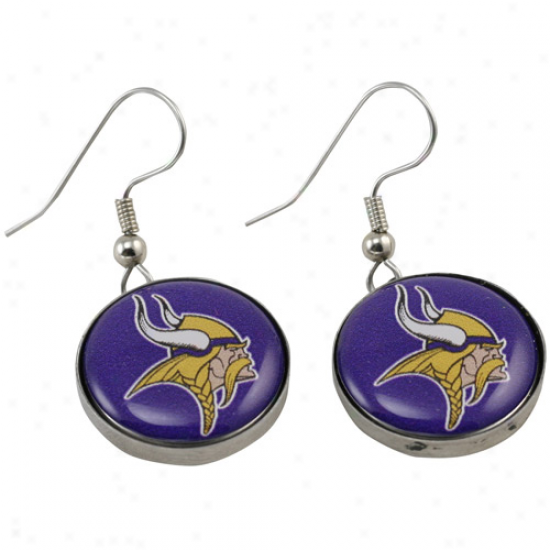 Minnesota Vikings Enamel Logo Charm Drop Earrings