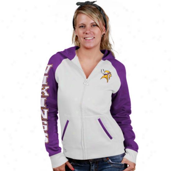 Minnesota Vikings Fleece : Reebok Minnesota Vikings Ladies White Letterman Full Zip Fleexe