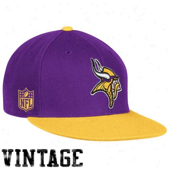 Minnesota Vikings Gear: Reebok Minnesota Vikings Purple-gold Throwback Fitted Hat