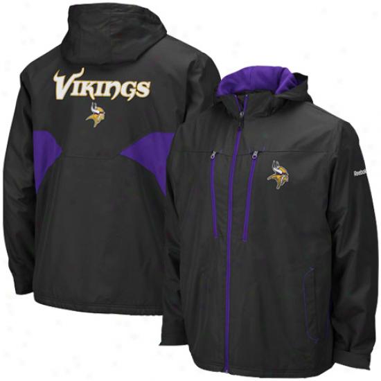 Minnesota Vikings Jacket : Reebok Minnesota Vikings Black Sideline Midweignt Full Zip Jacket