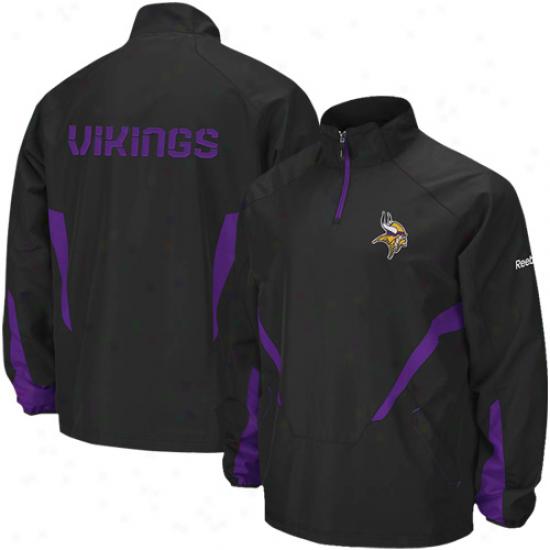 Minnesota Vikings Jacket : Reebok Minnesota Vikings Black oHt Siceline 1/4 Zip Pullover Wind Jacket