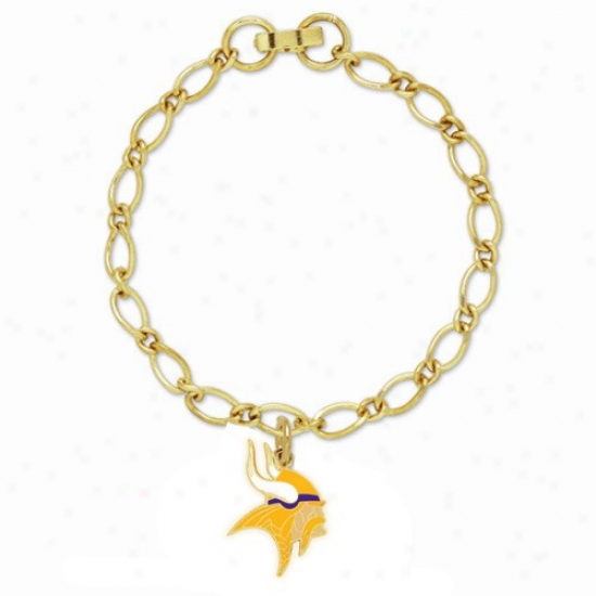 Minnesota Vikings Ladies Gold-tone Charm Bracelet