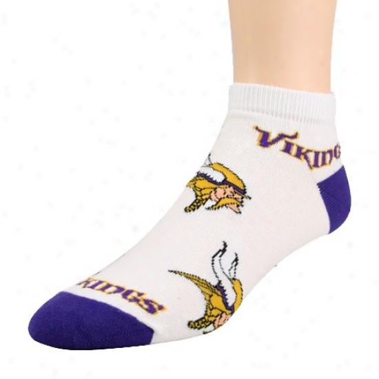 Minnesota Vikings Ladies White-purple Team Logo Ankle Socks
