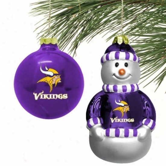 Minnesota Vikings Mini Blown Glass Ornament Set