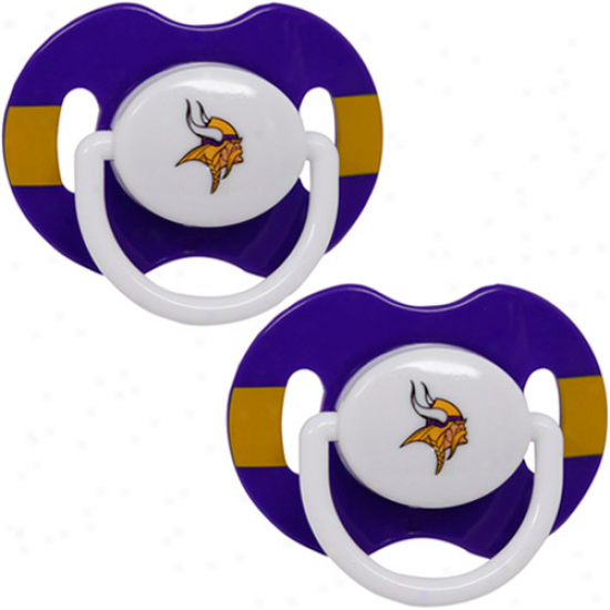 Minnesota Vikings Purple-gold Striped 2-pack Team Logo Pacifiers