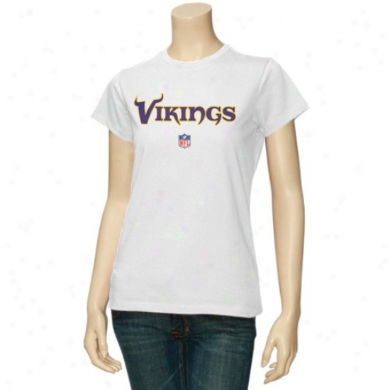 Minnesota Vikings Shirts : Reebok Minesota Vikings Ladies White Team Lockup Too Sideline Shirts