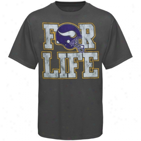 Minnesota Vikings T-shirt : Junk Fod Minnesota Vikings Charcoal For Life Premium T-shirt